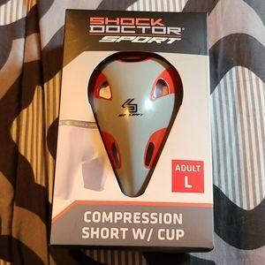 NIB Shock Doctor L  Compression Short w/Cup